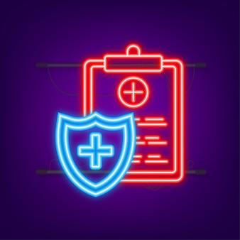 Медицинская страховка. медицинская защита, концепции медицинского страхования. плоский дизайн. неоновый стиль. векторная иллюстрация штока.