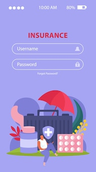 Health insurance mobile application with healthcare and treatment symbols