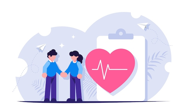 Медицинская страховка. люди стоят рядом с медицинской формой и большим сердцем с ритмом