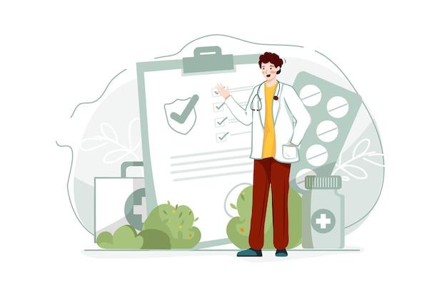 Иллюстрация полиса медицинского страхования