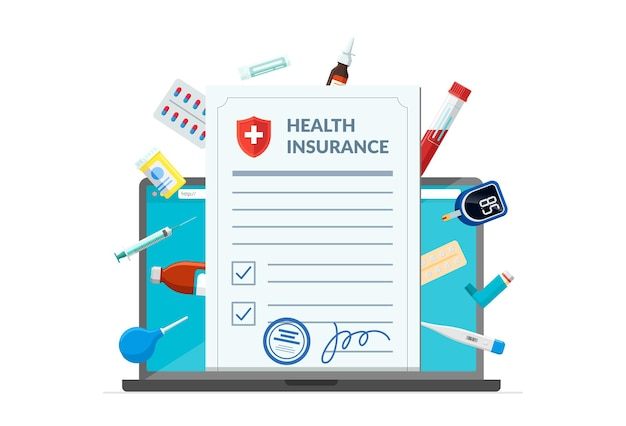 Health insurance policy with medical supplies medicine drugs pills tablets on laptop screen online