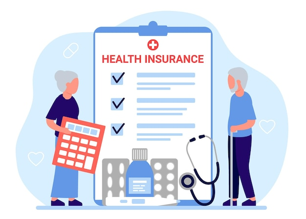 Health insurance senior people tax claim law document elderly man and woman count medical form