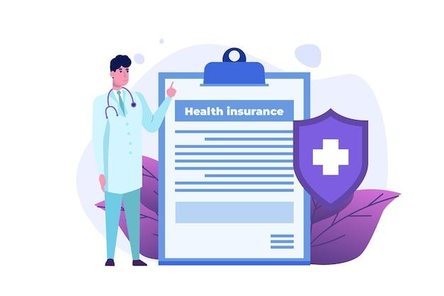 Концепция медицинского страхования. буфер обмена с формой медицинского документа.
