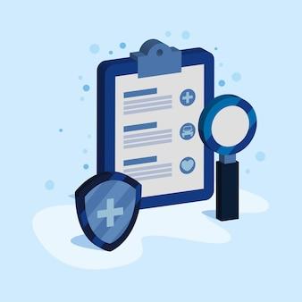 Health insurance service isometric icons