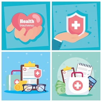 Health insurance service with heart and shield