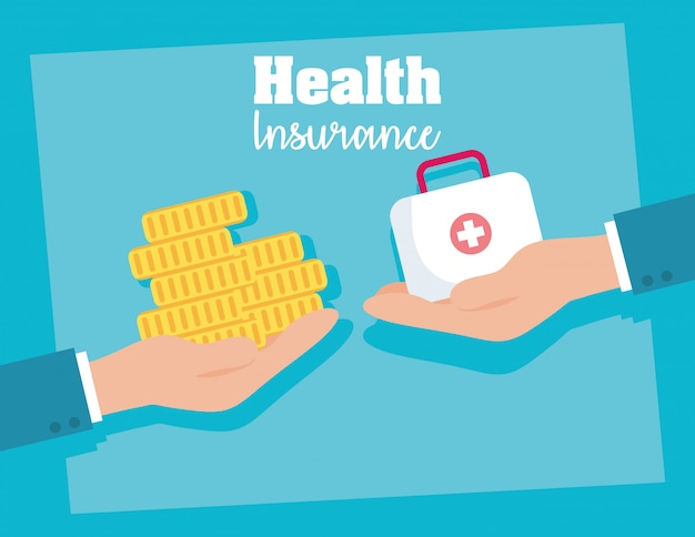Health insurance service with medical kit and coin