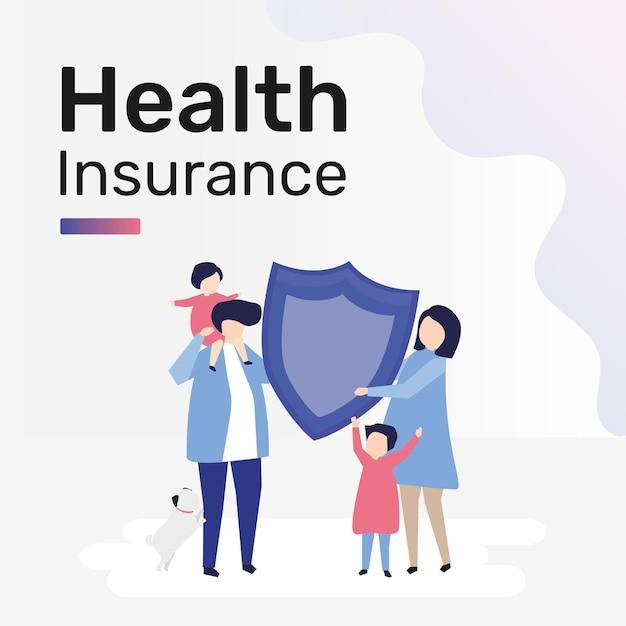 Modello di assicurazione sanitaria per post sui social media