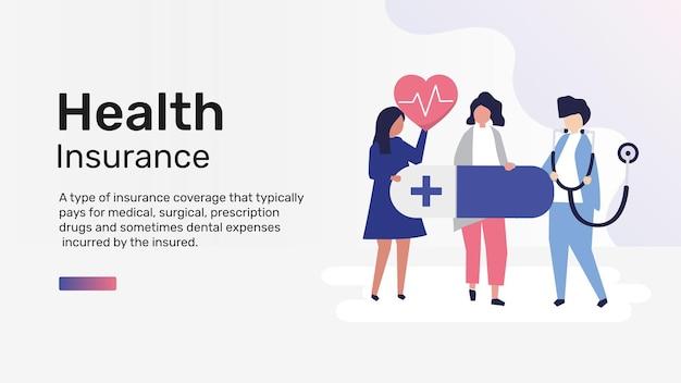 Health insurance template vector for blog banner
