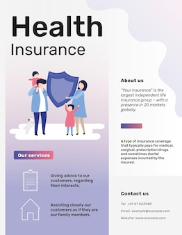 Health insurance template vector for flyer