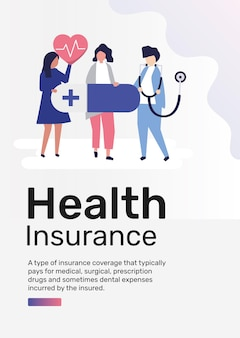 Health insurance template vector for poster