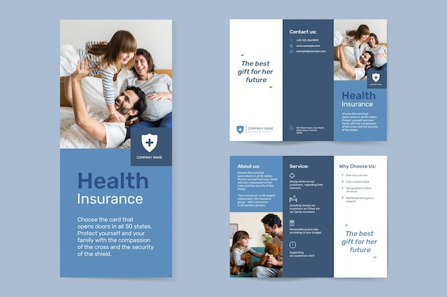 Health insurance template vector with editable text collection