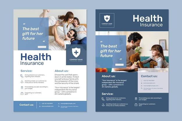 Vettore del modello di assicurazione sanitaria con set di testo modificabile