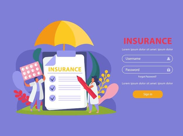 Sito web di assicurazione sanitaria con simboli di assistenza sanitaria e trattamento