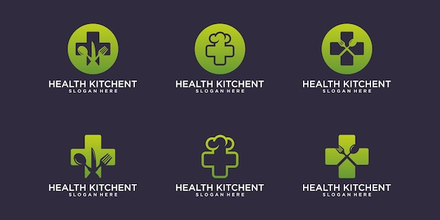 Health kitchent logo with business card design vector premium