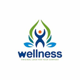 自然の概念と健康な人々のシンボルと健康のロゴ