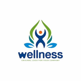 Health logo with nature concept and healthy people symbol
