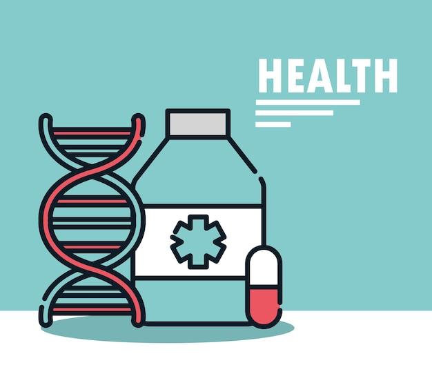 Капсула медицинской бутылки для здоровья и иллюстрация молекулы днк, линия и заполнение