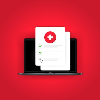 건강 의료 문서는 태블릿에서 온라인으로 목록을 확인합니다. 인터넷 체크리스트 테스트 결과. 생명 보험 또는 의료 개념입니다. 격리 된 흰색 배경에 벡터입니다. eps 10.