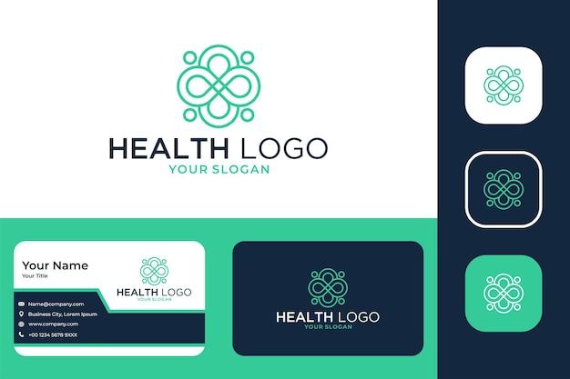 Health medical geometry line art logo design and business card