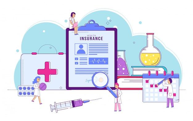 Документ медицинской страховки здоровья, иллюстрация. доктор характер изучения контракта и планирования лечения пациента, здоровья.