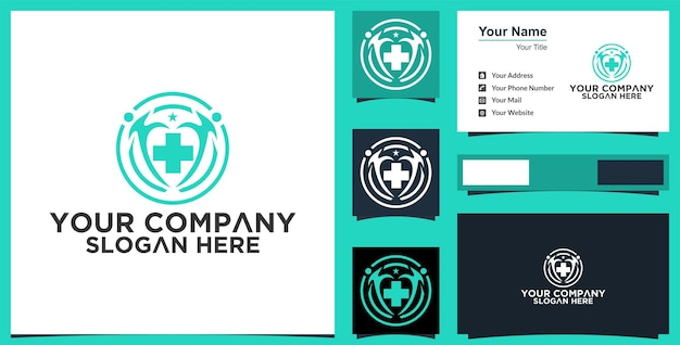 Health medical logo and business card inspiration premium vector