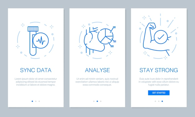 Health and medical onboarding app screens.
