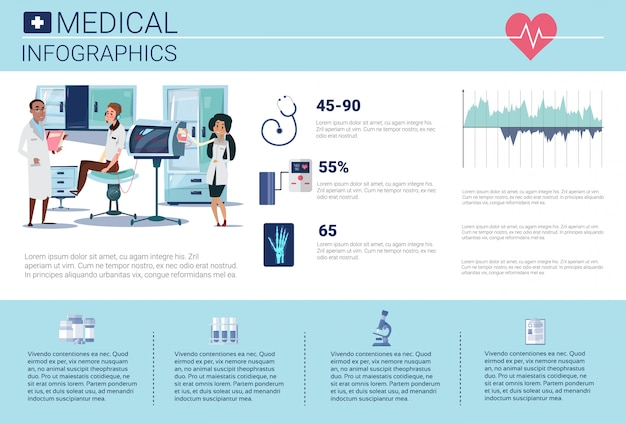 Health medicine infographics information banner with copy space