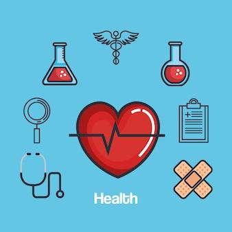 Health medicine set icons