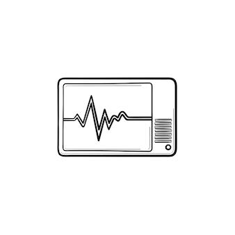 건강 모니터 손으로 그린 개요 낙서 아이콘입니다. 심장 리듬 테스트 개념 벡터 스케치 그림으로 인쇄, 웹, 모바일 및 흰색 배경에 고립 된 인포 그래픽으로 심장 디지털 모니터.