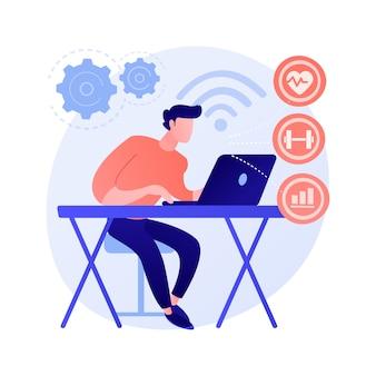 健康監視システム。医療統計追跡ソフトウェア、オンライン医師相談、遠隔医療サービス。距離検査とコンサルティングの概念図