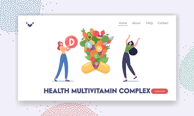 Health multivitamin complex landing page template. young women characters holding huge ball with vitamin d, healthy fruits and veggies fly out of supplement capsule. cartoon people vector illustration