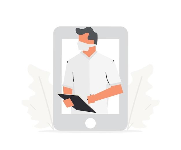 전화 삽화에 대한 건강 온라인 상담 의사는 큰 전화기 앞에 서 있다
