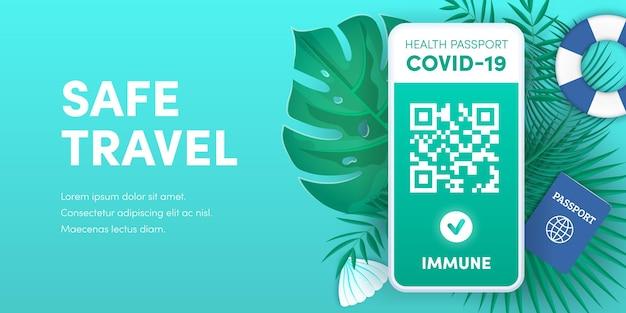 안전한 여행을 위한 헬스패스 앱. 스마트폰 화면 벡터 배너에 전자 코비드-19 면역 여권 qr 코드. 예방 접종 또는 음성 코로나바이러스는 휴대전화에서 녹색 유효 인증서를 테스트합니다.