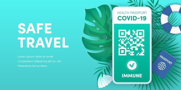 Health pass app for safe travel. electronic covid-19 immunity passport qr code on smartphone screen vector banner. vaccination or negative coronavirus test green valid certificate on mobile phone.