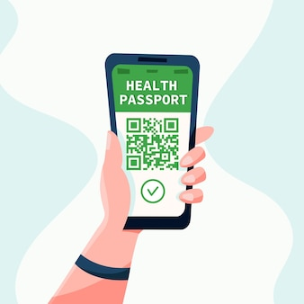 Health passport ?oncept or covid19 vaccination passport. hand and smartphone. flat vector illustration. travel during a pandemic.