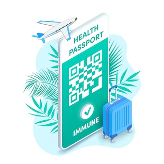 건강 여권 qr 코드 스마트폰 화면 벡터 아이소메트릭 전자 코비드 예방 접종 증명서