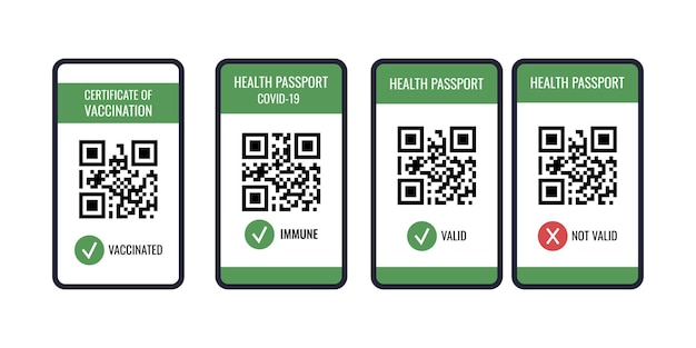 Health passport of vaccination on mobile phone screen with qr-code set