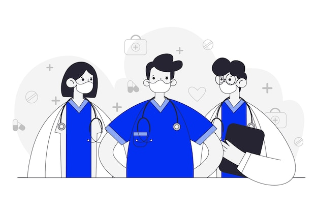 Health professionals hand drawn design