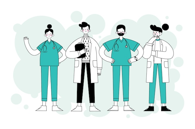 Health professionals hand drawn style