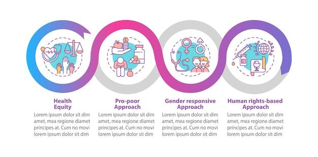 건강 프로그램 원칙 infographic 템플릿. 성별 반응 형 프레젠테이션 디자인 요소. 4 단계의 데이터 시각화. 타임 라인 차트를 처리합니다. 선형 아이콘이있는 워크 플로 레이아웃