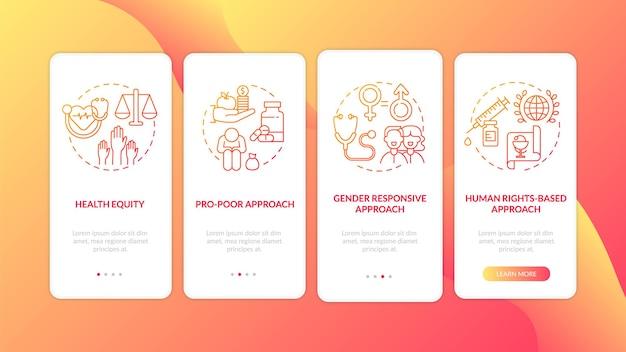 Принципы программ здравоохранения: отображение экрана страницы мобильного приложения с концепциями. подход, основанный на правах человека, прохождение четырех шагов графических инструкций. шаблон пользовательского интерфейса с цветными иллюстрациями