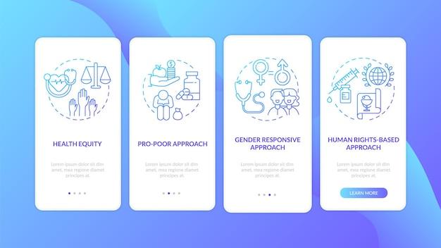 Принципы программ здравоохранения: экран страницы мобильного приложения с концепциями