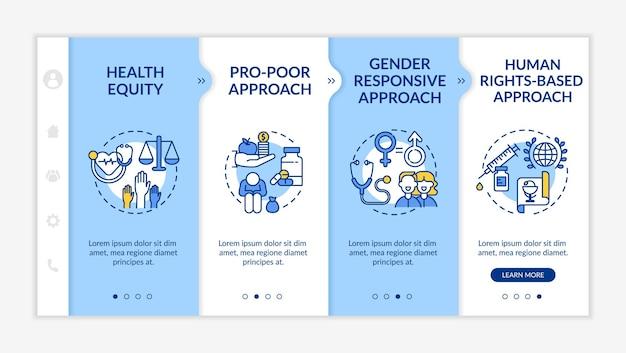 Шаблон для ознакомления с принципами программ здоровья. справедливость в отношении здоровья среди разных категорий людей. адаптивный мобильный сайт с иконками. экраны пошагового просмотра веб-страниц. цветовая концепция rgb