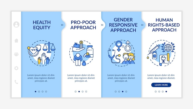 Health programs principles onboarding  template. health equity among different kinds of people. responsive mobile website with icons. webpage walkthrough step screens. rgb color concept