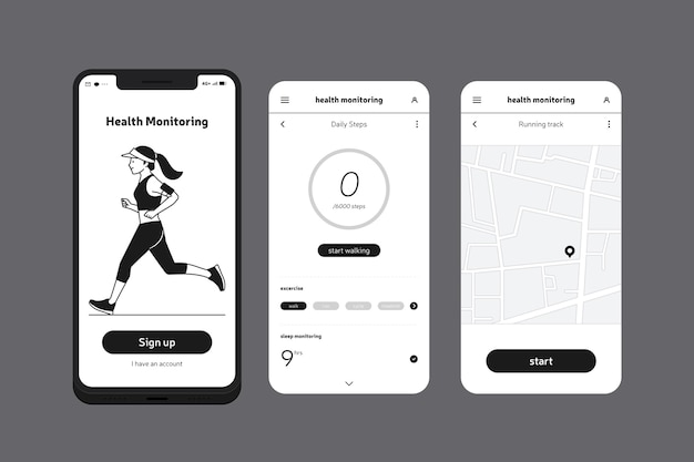 Health and running mobile phone app