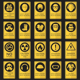 Health and safety signs. safety equipment must be worn.