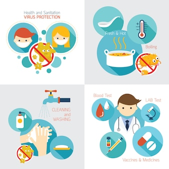 Health and sanitation infographics, cleanness, contagious disease prevention and secure