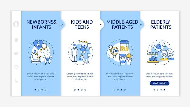 건강 검진 연령 그룹 온 보딩 템플릿. 유아, 어린이, 성인, 노인 환자. 아이콘이있는 반응 형 모바일 웹 사이트. 웹 페이지 안내 단계 화면. rgb 색상 개념