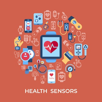 Health sensor icons collection