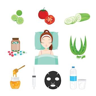 건강 피부 얼굴과 몸 개체 세트